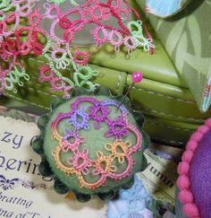 Marlene's tatting - small doodle attached to tartlet [Cathy B did the finishing]