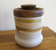 Earthenware Jar with Wood Lid by MarketHome on Etsy, $30.00