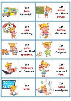 German lessons: Domino - the daily routine - Spiel Study German, Learn German, Learn French, German Grammar, German Words, Deutsch Language, Kindergarten Portfolio, Beauty Routine Checklist, Germany Language