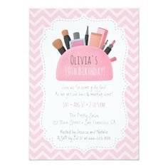 Pink Makeup Pouch Girls Birthday Party Invitations - birthday gifts party celebration custom gift ideas diy