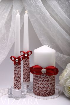 Unity Candle Hand Painted Vinous red Wedding Unity Candle set Unity Personalized unity candles Wedding decoration Ceremony Wedding Ideas red