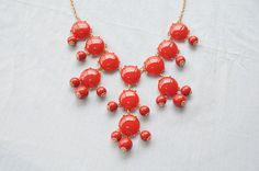 Bubble necklace, holiday party, bridesmaid gifts ,Beaded Jewelry, statement necklace, Birthday Jewelry, gold tone chain---Red
