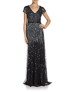 Chevron-Stripe Sequined Gown