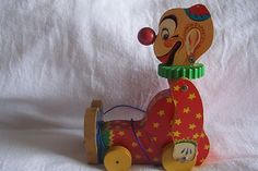 fisher price squeaky the clown pull toy, 1958