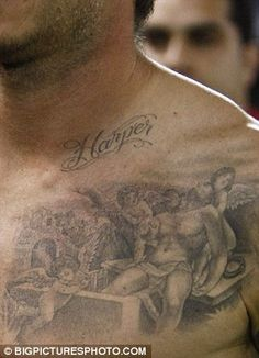 David Beckham Tattoos - Left upper chest, Jesus and cherubs, Harper, 2011: David added a portrait of Jesus - styled to look like Beckham - being lifted from his tomb by cherubs, said to be representations of his three sons. And when daughter Harper Seven arrived, the proud dad had her name etched above it.