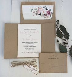 This beautiful rustic elegant kraft floral pocket invitation is the perfect for any rustic boho chic wedding. The invitation is printed on off white cardstock paper and then layered in the kraft floral pocket with hand distressed edges. Wrapped twine and tag. SAMPLES- Purchase this