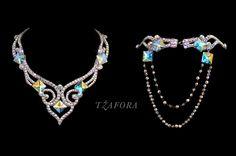 Swarovski ballroom necklace. Ballroom jewelry, ballroom accessories. www.tzafora.com Copyright © Tzafora Handmade in Canada.