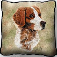 Brittany-Spaniel-Dog-by-Robert-May-Art-Tapestry-Pillow-Jacquard-Woven-Cotton