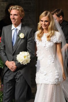 Poppy Delevingne looked exquisite on her wedding day to James Cook.  Dressed in custom-made Chanel, w/sis Cara Delevingne as her bridesmaid.