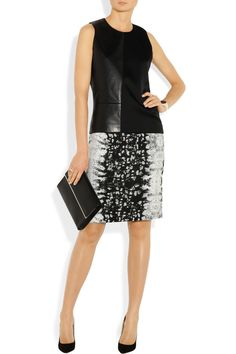 Reed Krakoff Leather and woven canvas top NET-A-PORTER.COM