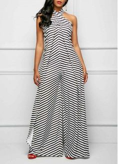 Sexy Jumpsuits and Rompers For Club, Evening Cocktail Party Denim Maxi Dress, Striped Maxi Dresses, Long Jumpsuits, Jumpsuits For Women, Classy Outfits, Chic Outfits, Embellished Jumpsuit, Halter Jumpsuit, Look Fashion