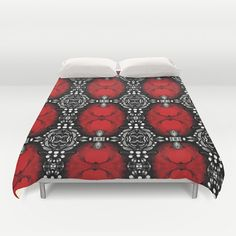 Duvet cover, red bedding, red and black Bedroom décor, red duvet cover, black duvet covet, pattern duvet cover, colorful duvet cover #duvetcover #saribelleart