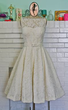 Audrey Hepburn Oscar Dress In Lace-Short Wedding Dress--1950s Bridal-Bespoke Custom made to size