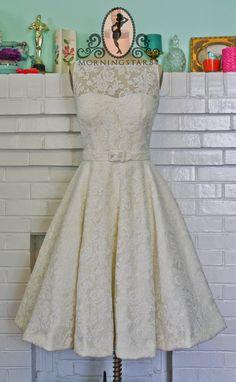 Audrey Hepburn Wedding Dress-Oscar Dress In Lace-Short Wedding Dress--1950s Bridal-Bespoke Custom made to size