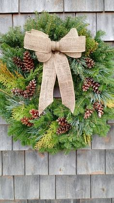 Large Fresh Maine Evergreen Wreath by scarletsmile on Etsy Christmas Porch, Christmas Balls, Christmas Wreaths, White Garland, Light Garland, Outdoor Garland, Fresh Wreath, Silver Christmas Decorations, Holiday Crafts