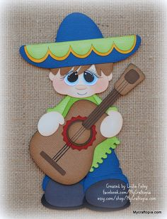 Fiesta boy Mexico Premade Scrapbooking Embellishment Paper