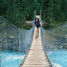 Suspension bridge over a river in Mount Robson Provincial Park (Marlene Ford photo)