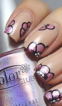 Nail Art i don't know if i like background color but the flowers are cute
