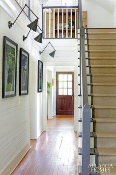 Modern Farmhouse Swing Arm Sconces in an Entryway with Shiplap Walls via Atlanta Homes & Lifestyles Fresh Farmhouse, Modern Farmhouse, Farmhouse Style, Modern Country, Entry Stairs, Entry Hallway, Hallway Ideas, White Hallway, Foyer Staircase