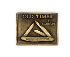 SCHRADE Knife Belt Buckle, Old Timer, Brass Buckle, 1970s 70s, Vintage Mens Belt Buckle, Trucker Style, Ellenville NY, Pocket Knife by VintageGemz on Etsy