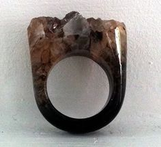 Hand carved solid quartz ring with drusy top $75