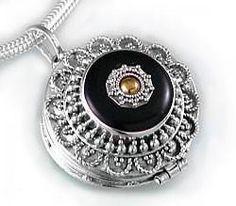 Sterling Silver Black Agate Brass Shield Poison Locket Pendant