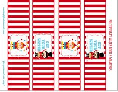 water bottle labels                                                                                                                                                                                 Más Carnival Themed Party, Carnival Birthday Parties, Carnival Themes, Circus Birthday, Birthday Party Themes, Hello Kitty Invitations, Vintage Circus Party, Second Birthday Ideas, Water Party