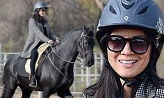 Safety first: The 33-year-old actress, Olivia Munn, set a great example by wearing a Troxel Intrepid Allure helmet for a riding lesson in Los Angeles on Thursday.