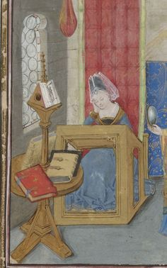 Christine de Pisan Book of the three virtues. Medieval Tapestry, Medieval Books, Medieval World, Medieval Manuscript, Medieval Art, Illuminated Manuscript, Renaissance, Women In History, Art History