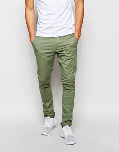 $36, Asos Brand Super Skinny Chinos In Light Khaki. Sold by Asos. Click for more info: https://lookastic.com/men/shop_items/345858/redirect