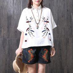Ethnic Embroidered Vintage Cotton Linen Women White Shirt