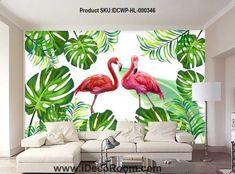 Flamingo Wallpaper, Rose Gold Wallpaper, Wall Wallpaper, Tropical Artwork, Tropical Home Decor, Mural Art, Wall Murals, Cafe Interior Vintage, Diy Wall Art