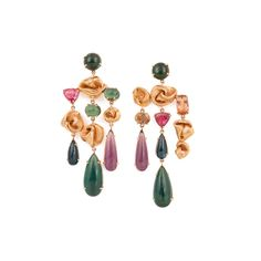 18K rose gold knot chandelier earrings with multi colored tourmalines