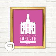 LDS St. George Utah Temple Personalized Printable Art PDF / JPEG File by RoseBlossomPrints