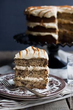 Banana Chocolate Chunk Cake with Cream Cheese Dulce de Leche Frosting by @Jessica (Portuguese Girl Cooks)