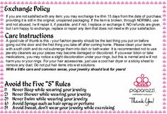Paparazzi Accessories Exchange Policy and Care Instructions.
