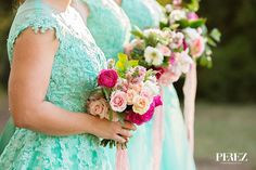 Bridesmaid's fushia, pink, blush bouquets at Vibrant Mint & Pink Vintage Barn Wedding Blog - RENT MY DUST Vintage Rentals Dallas Texas ~ flowers by The Southern Table