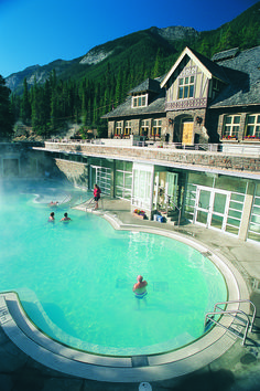 Banff Upper Hot Springs in Banff National Park. Historic Spa & Bathhouse