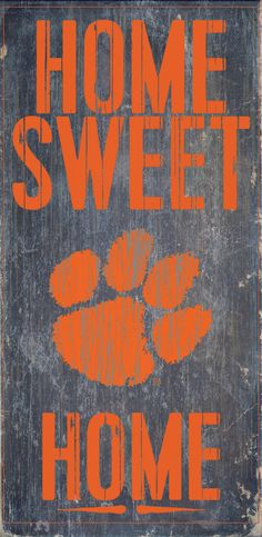 "Clemson Tigers Wood Sign - Home Sweet Home 6""x12"""