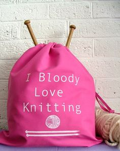 I bloody love knitting project bag   by KellyConnorDesigns on Etsy, $17.15