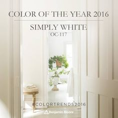 Benjamin Moore Color Of The Year 2016 Simply White. Painted entire BayView home this color. Benjamin Moore Paint, Benjamin Moore Colors, Wall Colors, House Colors, Paint Colours, Neutral Colors, Exterior Paint, Interior And Exterior, Cafe Interior