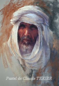 Patriarch 65 x 45 cm pastel by French pastel artist Claude Textier