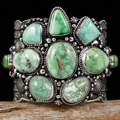 Sterling Silver Cuff with a Cluster of seven Carico Lake Turquoise stones from Nevada. No other turquoise displays such improbable shades of green, and this piece contains the most desirable shades Navajo Jewelry, Southwest Jewelry, Turquoise Jewelry, Ethnic Jewelry, Western Jewelry, Turquoise Cuff, Vintage Turquoise, Turquoise Bracelet, Hippy Chic
