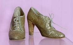 1970's Maude Frizon Gold Glitter Shoes Vintage Designer Shoes :