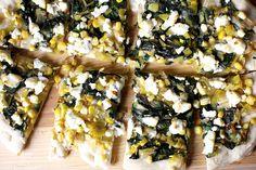 leek, corn and chard flatbread
