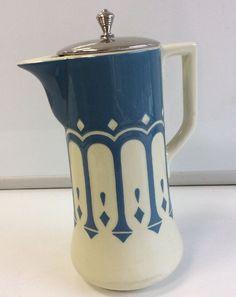 Villeroy & Boch Alte Keramik Kanne Kakaokanne Jugendstil ca. 1905 Creme Blau  in Antiquitäten & Kunst, Porzellan & Keramik, Keramik | eBay!