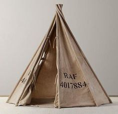 Recycled Canvas Play Tent - contemporary - Baby And Kids - Restoration Hardware Baby & Child Teepee Kids, Teepee Tent, Play Teepee, Play Tents, Kids Room Curtains, Recycling, Restoration Hardware Baby, Canvas Tent, Soft Seating