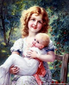 Pintura de una niña y un bebe