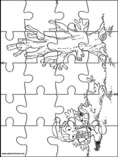 Printable jigsaw puzzles to cut out for kids Smurfs 16 Coloring Pages