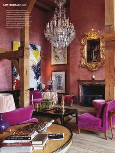 Pink  rosa ou magenta   e importa o nome    Design projects     pink velvet a chandelier and paintings from Sam Francis in Trudy Derksen s  house in interior design designs room design design interior